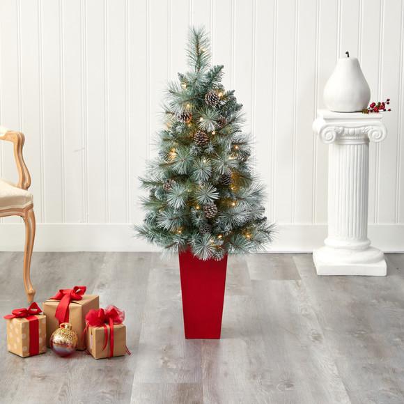 44 Frosted Tip British Columbia Mountain Pine Artificial Christmas Tree with 50 Clear Lights Pine Cones and 112 Bendable Branches in Red Tower Planter - SKU #T2276 - 6