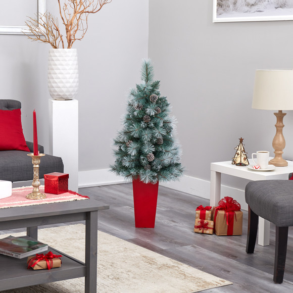 44 Frosted Tip British Columbia Mountain Pine Artificial Christmas Tree with 50 Clear Lights Pine Cones and 112 Bendable Branches in Red Tower Planter - SKU #T2276 - 8