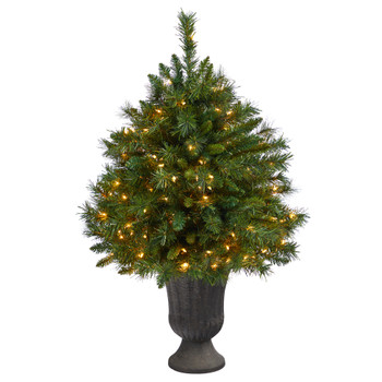 3.5 Wyoming Mixed Pine Artificial Christmas Tree with 150 Clear Lights and 270 Bendable Branches in Charcoal Urn - SKU #T2279