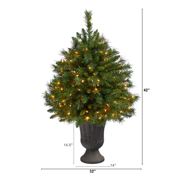 3.5 Wyoming Mixed Pine Artificial Christmas Tree with 150 Clear Lights and 270 Bendable Branches in Charcoal Urn - SKU #T2279 - 1