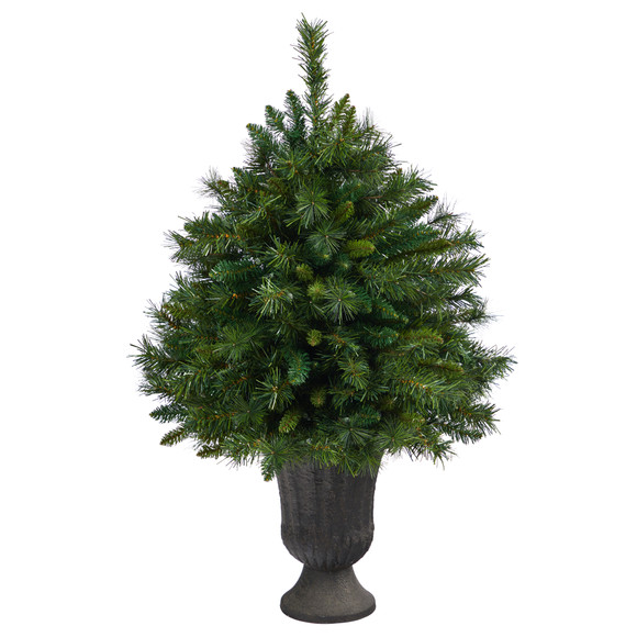 3.5 Wyoming Mixed Pine Artificial Christmas Tree with 150 Clear Lights and 270 Bendable Branches in Charcoal Urn - SKU #T2279 - 2
