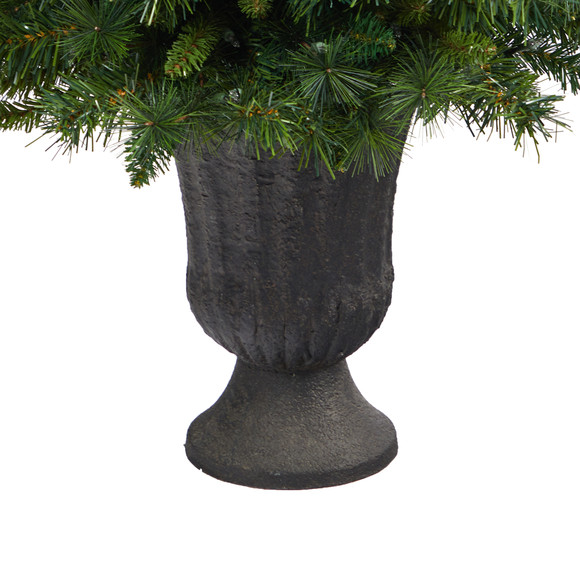 3.5 Wyoming Mixed Pine Artificial Christmas Tree with 150 Clear Lights and 270 Bendable Branches in Charcoal Urn - SKU #T2279 - 5