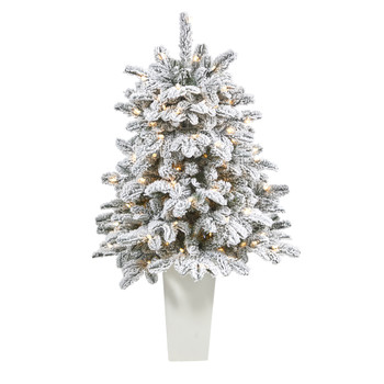 44 Flocked North Carolina Fir Artificial Christmas Tree with 150 Warm White Lights and 545 Bendable Branches in Planter - SKU #T2280-WH