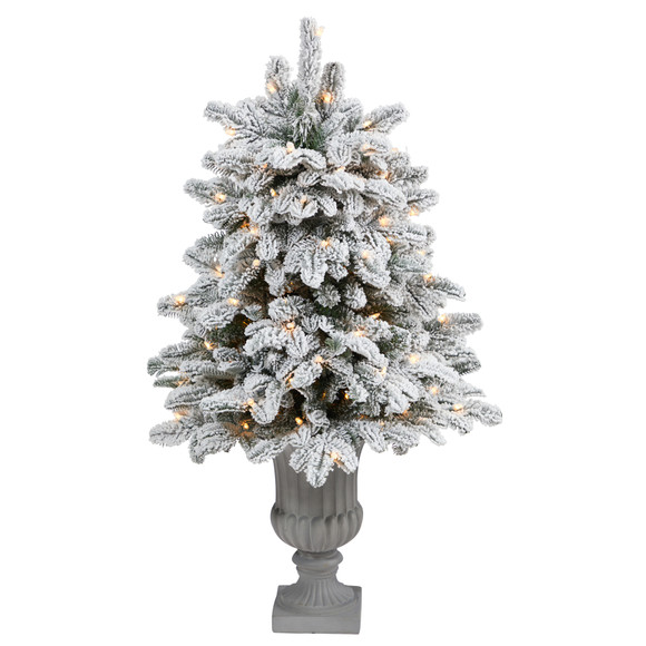 46 Flocked North Carolina Fir Artificial Christmas Tree with 150 Warm White Lights and 545 Bendable Branches in Decorative Urn - SKU #T2281