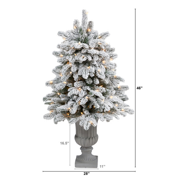 46 Flocked North Carolina Fir Artificial Christmas Tree with 150 Warm White Lights and 545 Bendable Branches in Decorative Urn - SKU #T2281 - 1