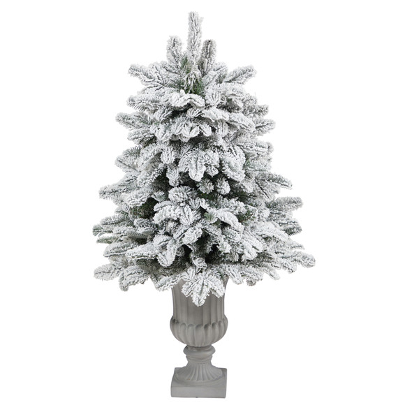 46 Flocked North Carolina Fir Artificial Christmas Tree with 150 Warm White Lights and 545 Bendable Branches in Decorative Urn - SKU #T2281 - 2