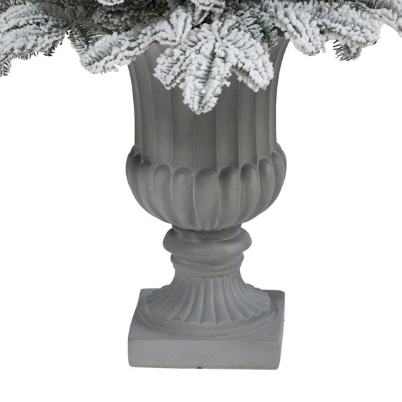 46 Flocked North Carolina Fir Artificial Christmas Tree with 150 Warm White Lights and 545 Bendable Branches in Decorative Urn - SKU #T2281 - 5