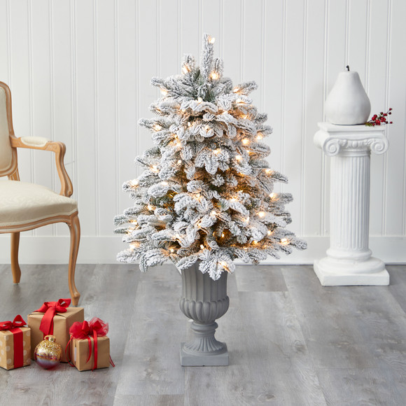 46 Flocked North Carolina Fir Artificial Christmas Tree with 150 Warm White Lights and 545 Bendable Branches in Decorative Urn - SKU #T2281 - 6