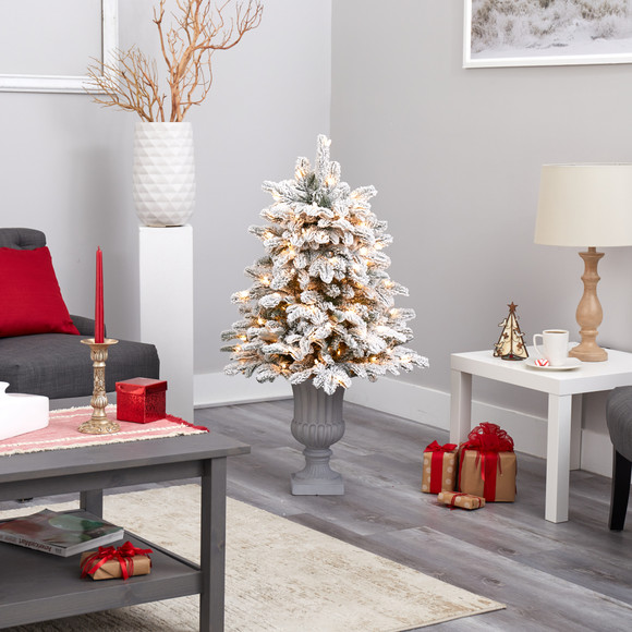 46 Flocked North Carolina Fir Artificial Christmas Tree with 150 Warm White Lights and 545 Bendable Branches in Decorative Urn - SKU #T2281 - 7