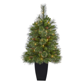 3.5 Golden Tip Washington Pine Artificial Christmas Tree with 50 Clear Lights Pine Cones and 148 Bendable Branches in Black Metal Planter - SKU #T2283