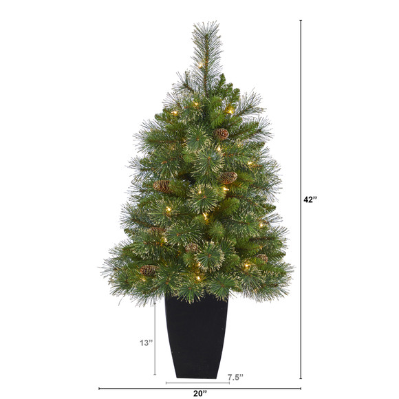 3.5 Golden Tip Washington Pine Artificial Christmas Tree with 50 Clear Lights Pine Cones and 148 Bendable Branches in Black Metal Planter - SKU #T2283 - 1