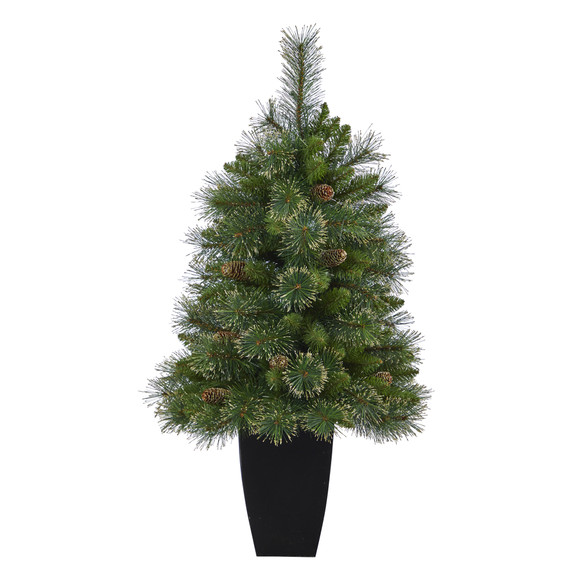 3.5 Golden Tip Washington Pine Artificial Christmas Tree with 50 Clear Lights Pine Cones and 148 Bendable Branches in Black Metal Planter - SKU #T2283 - 2