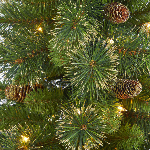 3.5 Golden Tip Washington Pine Artificial Christmas Tree with 50 Clear Lights Pine Cones and 148 Bendable Branches in Black Metal Planter - SKU #T2283 - 3
