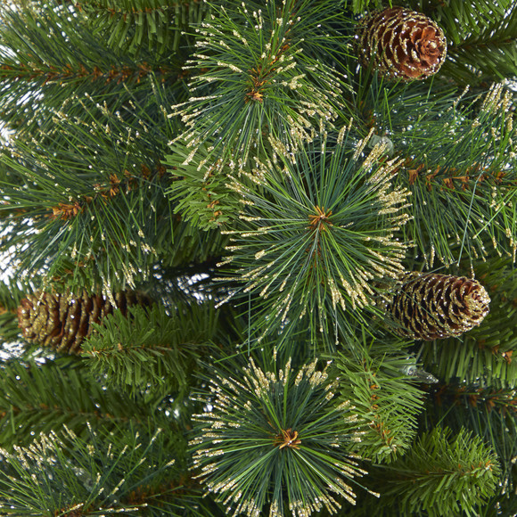 3.5 Golden Tip Washington Pine Artificial Christmas Tree with 50 Clear Lights Pine Cones and 148 Bendable Branches in Black Metal Planter - SKU #T2283 - 4