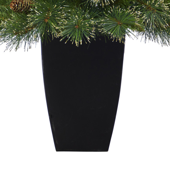 3.5 Golden Tip Washington Pine Artificial Christmas Tree with 50 Clear Lights Pine Cones and 148 Bendable Branches in Black Metal Planter - SKU #T2283 - 5