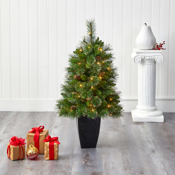 3.5 Golden Tip Washington Pine Artificial Christmas Tree with 50 Clear Lights Pine Cones and 148 Bendable Branches in Black Metal Planter - SKU #T2283 - 6