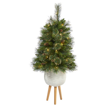 4 Golden Tip Washington Pine Artificial Christmas Tree with 50 Clear Lights Pine Cones and 148 Bendable Branches in White Planter with Stand - SKU #T2284
