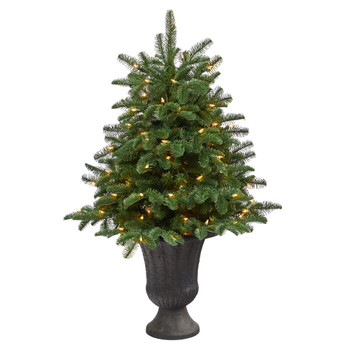 3.5 South Carolina Spruce Artificial Christmas Tree with 100 White Warm Light and 458 Bendable Branches in Charcoal Urn - SKU #T2287