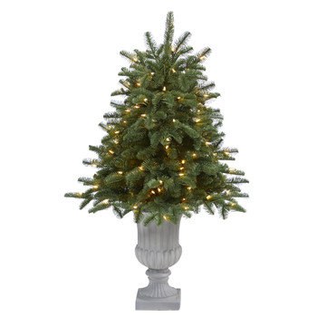 3.5 South Carolina Spruce Artificial Christmas Tree with 100 White Warm Light and 458 Bendable Branches in Decorative Urn - SKU #T2288