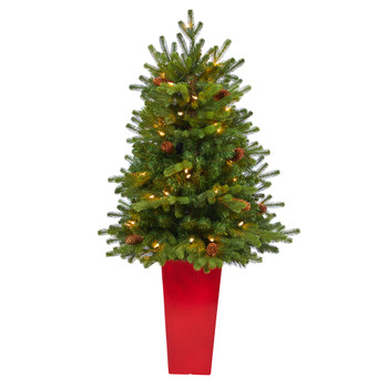 3.5 Yukon Mountain Fir Artificial Christmas Tree with 50 Clear Lights and Pine Cones in Red Planter - SKU #T2290