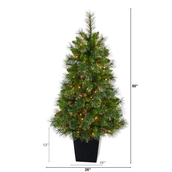 50 Golden Tip Washington Pine Artificial Christmas Tree with 100 Clear Lights Pine Cones and 336 Bendable Branches in Black Metal Planter - SKU #T2292 - 1