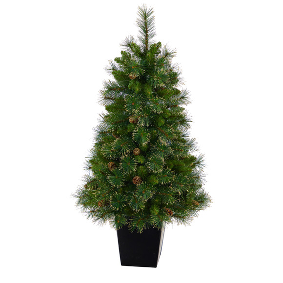 50 Golden Tip Washington Pine Artificial Christmas Tree with 100 Clear Lights Pine Cones and 336 Bendable Branches in Black Metal Planter - SKU #T2292 - 2