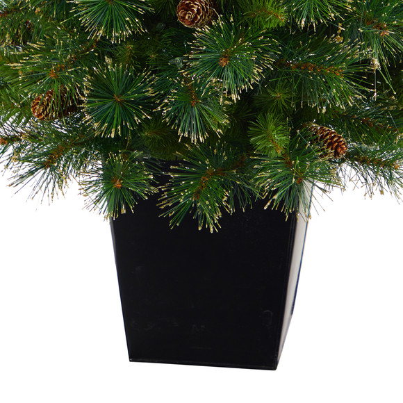 50 Golden Tip Washington Pine Artificial Christmas Tree with 100 Clear Lights Pine Cones and 336 Bendable Branches in Black Metal Planter - SKU #T2292 - 5