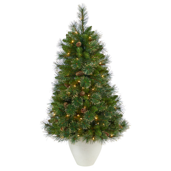 50 Golden Tip Washington Pine Artificial Christmas Tree with 100 Clear Lights Pine Cones and 336 Bendable Branches in White Planter - SKU #T2293