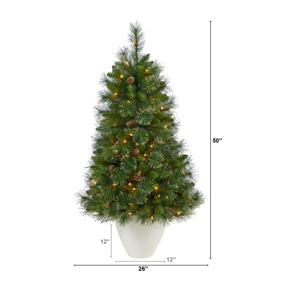 50 Golden Tip Washington Pine Artificial Christmas Tree with 100 Clear Lights Pine Cones and 336 Bendable Branches in White Planter - SKU #T2293 - 1