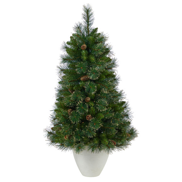 50 Golden Tip Washington Pine Artificial Christmas Tree with 100 Clear Lights Pine Cones and 336 Bendable Branches in White Planter - SKU #T2293 - 2