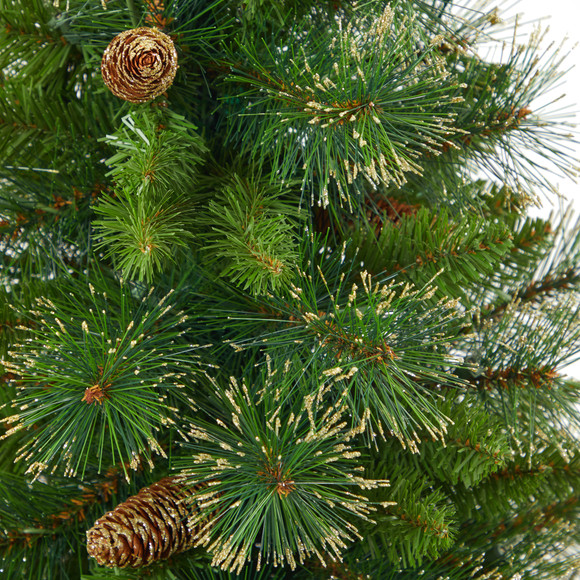 50 Golden Tip Washington Pine Artificial Christmas Tree with 100 Clear Lights Pine Cones and 336 Bendable Branches in White Planter - SKU #T2293 - 4