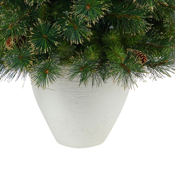 50 Golden Tip Washington Pine Artificial Christmas Tree with 100 Clear Lights Pine Cones and 336 Bendable Branches in White Planter - SKU #T2293 - 5