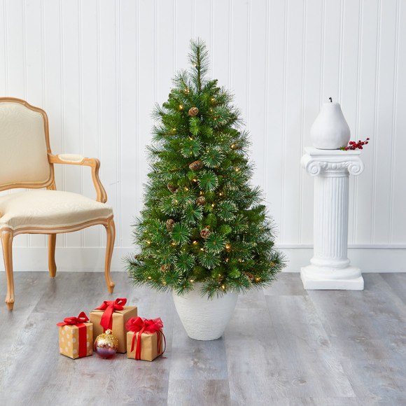 50 Golden Tip Washington Pine Artificial Christmas Tree with 100 Clear Lights Pine Cones and 336 Bendable Branches in White Planter - SKU #T2293 - 6