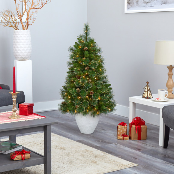 50 Golden Tip Washington Pine Artificial Christmas Tree with 100 Clear Lights Pine Cones and 336 Bendable Branches in White Planter - SKU #T2293 - 7