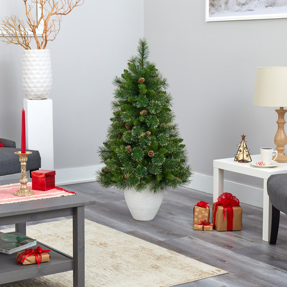50 Golden Tip Washington Pine Artificial Christmas Tree with 100 Clear Lights Pine Cones and 336 Bendable Branches in White Planter - SKU #T2293 - 8