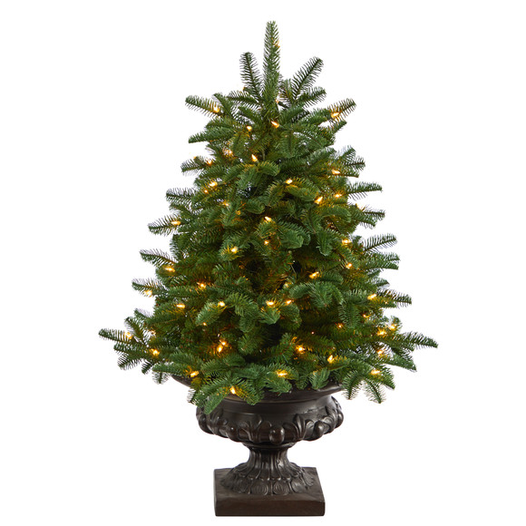 3.5 South Carolina Spruce Artificial Christmas Tree with 100 White Warm Light and 458 Bendable Branches in Iron Colored Urn - SKU #T2294