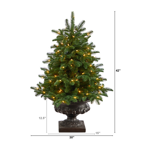 3.5 South Carolina Spruce Artificial Christmas Tree with 100 White Warm Light and 458 Bendable Branches in Iron Colored Urn - SKU #T2294 - 1