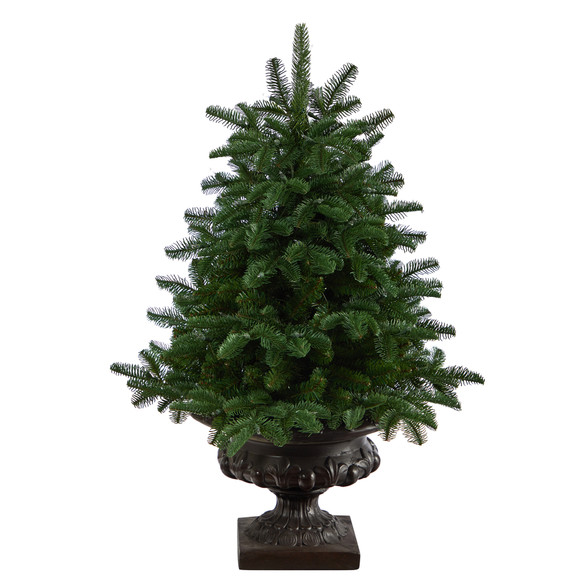 3.5 South Carolina Spruce Artificial Christmas Tree with 100 White Warm Light and 458 Bendable Branches in Iron Colored Urn - SKU #T2294 - 2
