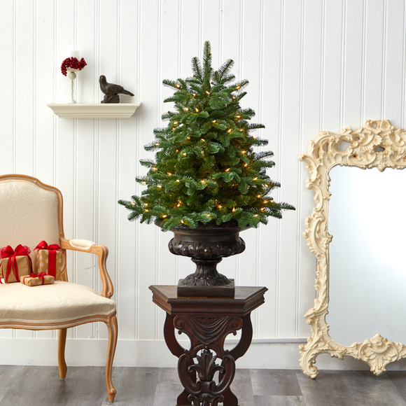 3.5 South Carolina Spruce Artificial Christmas Tree with 100 White Warm Light and 458 Bendable Branches in Iron Colored Urn - SKU #T2294 - 6