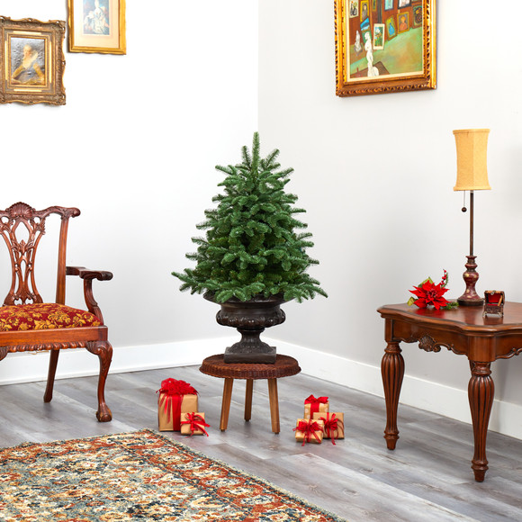 3.5 South Carolina Spruce Artificial Christmas Tree with 100 White Warm Light and 458 Bendable Branches in Iron Colored Urn - SKU #T2294 - 8