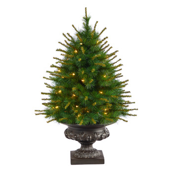 3.5 New England Pine Artificial Christmas Tree with 50 Clear Lights and 117 Bendable Branches in Iron Colored Urn - SKU #T2295