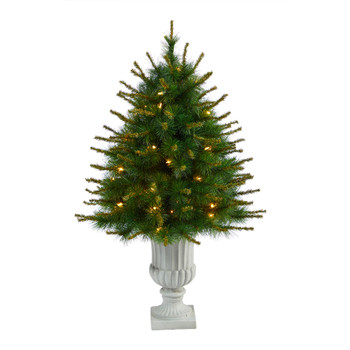 44 New England Pine Artificial Christmas Tree with 50 Clear Lights and 117 Bendable Branches in Decorative Urn - SKU #T2296