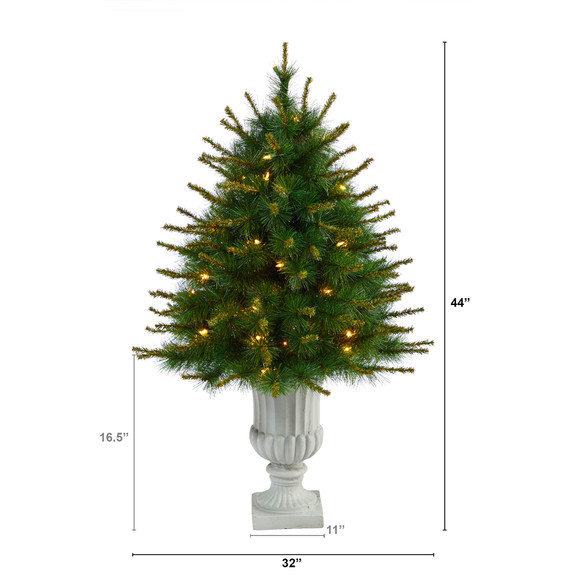44 New England Pine Artificial Christmas Tree with 50 Clear Lights and 117 Bendable Branches in Decorative Urn - SKU #T2296 - 1
