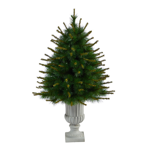44 New England Pine Artificial Christmas Tree with 50 Clear Lights and 117 Bendable Branches in Decorative Urn - SKU #T2296 - 2