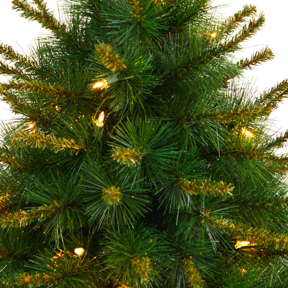 44 New England Pine Artificial Christmas Tree with 50 Clear Lights and 117 Bendable Branches in Decorative Urn - SKU #T2296 - 3