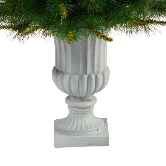 44 New England Pine Artificial Christmas Tree with 50 Clear Lights and 117 Bendable Branches in Decorative Urn - SKU #T2296 - 5