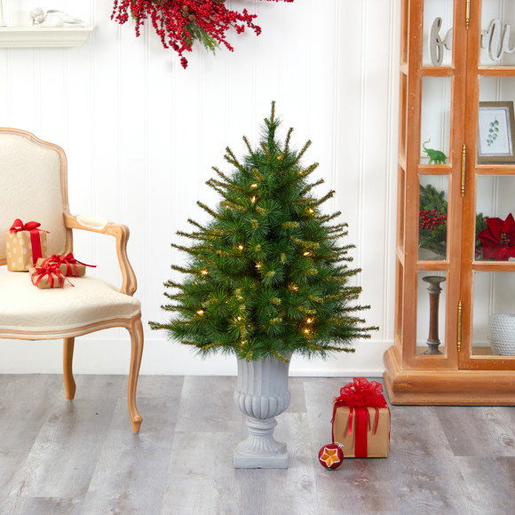 44 New England Pine Artificial Christmas Tree with 50 Clear Lights and 117 Bendable Branches in Decorative Urn - SKU #T2296 - 6