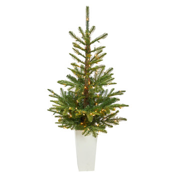 4.5 Layered Washington Spruce Artificial Christmas Tree with 100 Clear LED Lights and 189 Bendable Branches in White Planter - SKU #T2297