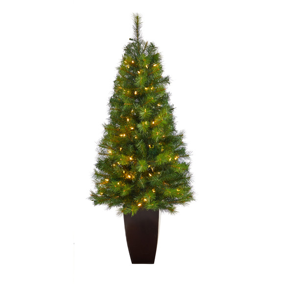5 Green Valley Pine Artificial Christmas Tree with 100 Warm White LED Lights and 201 Bendable Branches in Bronze Metal Planter - SKU #T2299