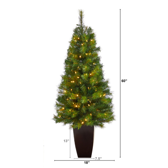 5 Green Valley Pine Artificial Christmas Tree with 100 Warm White LED Lights and 201 Bendable Branches in Bronze Metal Planter - SKU #T2299 - 1